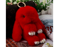 Брелок Кролик из меха цвет: Красный, 17-19 см