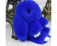 Брелок Заяц из меха цвет: Синий, 17-19 см