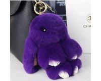 Брелок Заяц из меха цвет: Фиолетовый, 17-19 см