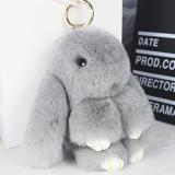 Брелок Кролик из меха цвет: Светло-серый, 17-19 см