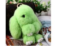 Брелок Кролик из меха цвет: Зеленый, 17-19 см