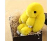 Брелок Кролик из меха цвет: Желтый, 17-19 см