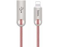 Hoco U8 Кабель USB-Lightning в металлической оплетке, розовое золото