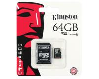 Карта памяти microsd Kingston Micro SD + SD Адаптер 64Gb (SDHC/64GB)