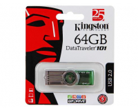 USB Flash Drive 64Gb - Флешка Kingston FlashDrive Data Traveler 101 G2 DT101G2/64GB (Зеленый)