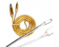 MicroUSB кабель плоский плетеный длина 1.0м