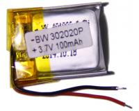 Аккумулятор универсальный 302020P 100mAh 3.7V, 22х16х3 мм
