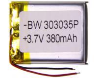 Аккумулятор универсальный 303035P 380mAh 3.7V, 35х30х3 мм