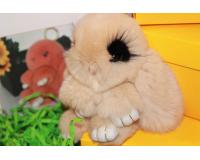 Брелок Заяц из меха с ресницами цвет: Бежевый, 17-19 см