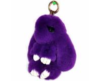 Брелок Заяц из меха с ресницами цвет: Фиолетовый, 17-19 см