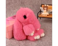 Брелок Заяц из меха с ресницами цвет: Розовый, 17-19 см