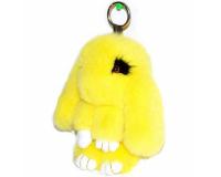 Брелок Кролик из меха с ресницами цвет: Желтый, 17-19 см