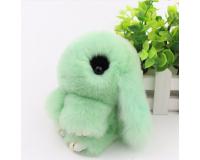 Брелок Кролик из меха с ресницами цвет: Зеленый, 17-19 см