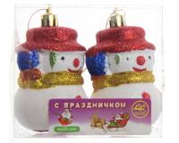 """Елочная игрушка """"Снеговичок"""", красный, 8х5 см, 2 шт"""