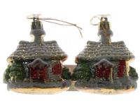 """Елочная игрушка """"Новогодний Домик"""", зеленый, 7х6 см, 2 шт"""