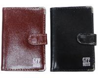 Визитница на застежке GFF на 20 карт, черная/коричневая обложка