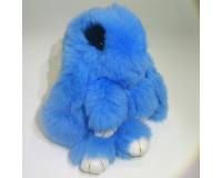 Брелок Заяц из меха с ресницами цвет: Синий, 17-19 см