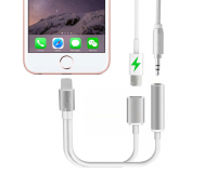 Адаптер 2 в 1 Apple Lightning - jack 3.5 и зарядка