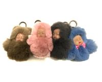 Меховой брелок куколка — пупс с бантиком 12 см